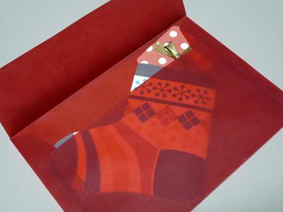 クリスマスカード靴下