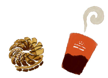ミスドのドーナツとコーヒー
