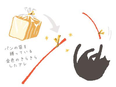 猫とパンの袋を縛る金の留め具