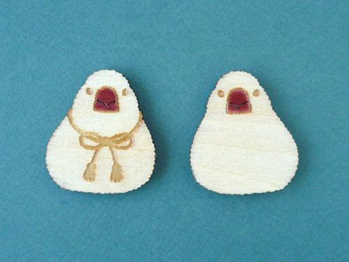 木製ブローチ 文鳥
