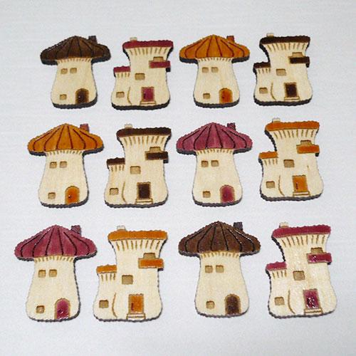 木製ブローチ キノコの家